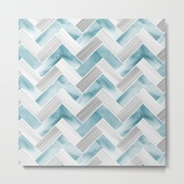 Parquetry in Watercolour - Powder Blue Metal Print