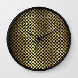Black and Gold Checkerboard Weimaraner Wall Clock