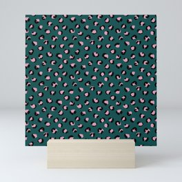 Leopard animal print trend abstract minimal spots panther cat Green Pink Black Mini Art Print