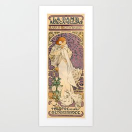 Vintage French Art Nouveau Lady of the Camelias Art Print