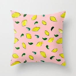 Watercolor Lemons Pink #homedecor #spring #watercolor Throw Pillow