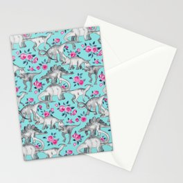 Dinosaurs and Roses - turquoise blue Stationery Cards