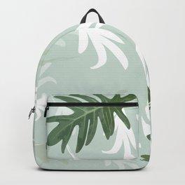 Trio Palm leaves.  greenwhite Backpack