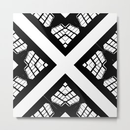 Stained Glass FortyFive Black + White Metal Print