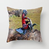 moto Throw Pillows featuring Moto Cross by Lone Wolf Photography