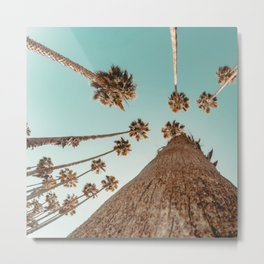 {1 of 2} Hug a Palm Tree // Tropical Summer Teal Blue Sky Metal Print
