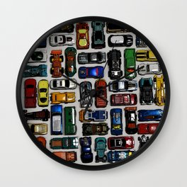 Toy cars pattern Wall Clock