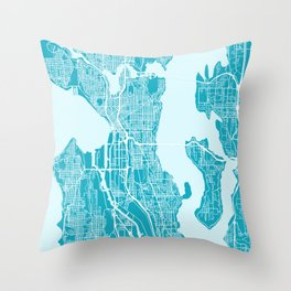 SEATTLE City Map | Minnesota US | Aqua | More Colors, Review My Collections Throw Pillow