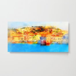 Elba Island, Tuscany - Watercolor Metal Print