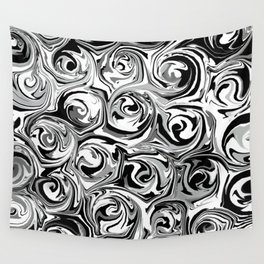 Onyx Black and White Paint Swirls Wall Tapestry