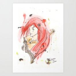 League of Legends - Katarina Watercolour Art Print