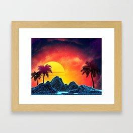 Sunset Vaporwave landscape with rocks and palms Framed Art Print