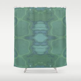 Art Nouveau Green Panel Shower Curtain
