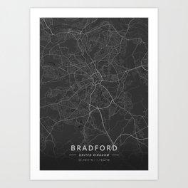 Bradford, United Kingdom - Dark Map Art Print