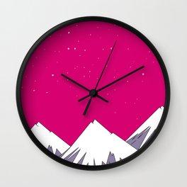 pink Mountains Wall Clock