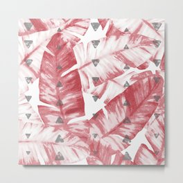 Dusty Rose Tropical Banana Leaves Arrows Design Metal Print