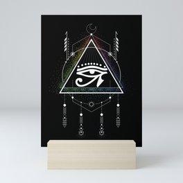 Illuminati Dream Catcher Masonic Triangle Conspirancy Gift Mini Art Print