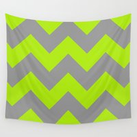 lime Wall Tapestries featuring Chevron Lime by Alice Gosling