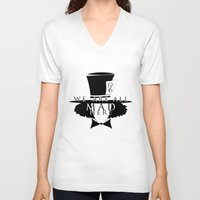 mad hatter V-neck T-shirts featuring Mad Hatter by Rose's Creation