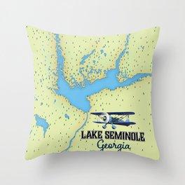 Lake Seminole Georgia map Throw Pillow