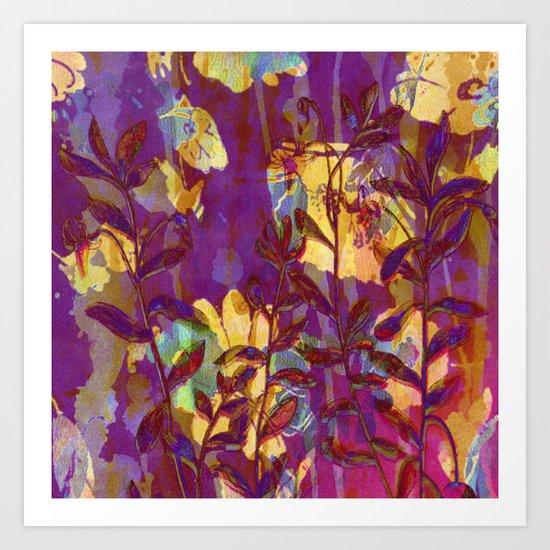 yellow flowers on purple Art Print