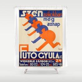Hungarian vintage poster, Szén Zsákokban Shower Curtain