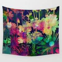 bokeh Wall Tapestries featuring bright floral and bokeh by clemm
