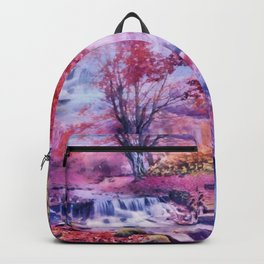 Waterfall in colorful autumn forest Backpack