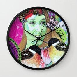 Woman portrait bird butterfly Wall Clock