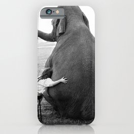 Odd Best Friends, Sweet Little Girl hugging elephant black and white photograph iPhone Case