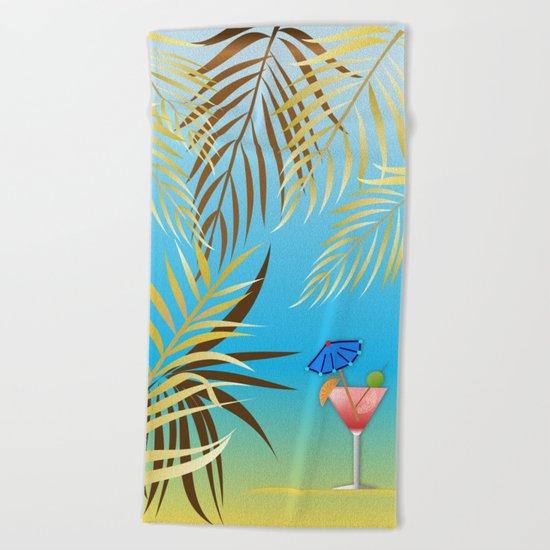 Golden palm leaves Beach Towel