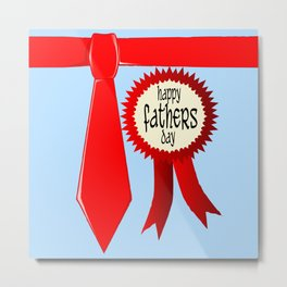 Happy Fathers Day Rosette Metal Print