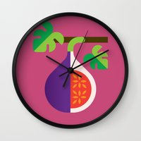 fig Wall Clocks featuring Fruit: Fig by Christopher Dina