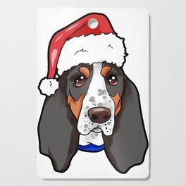 Basset Hound Dog Christmas Hat Cutting Board