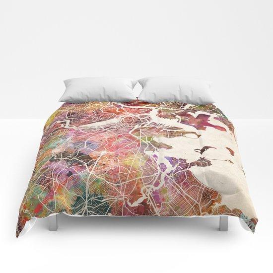 Boston map Comforters