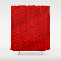 video game Shower Curtains featuring Video Game Controllers - Red by C.Rhodes Design