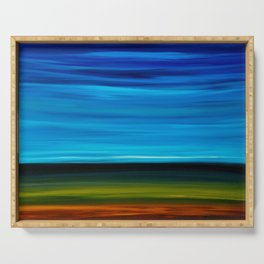 Blue And Green Abstract Art - Daybreak - Sharon Cummings Serving Tray