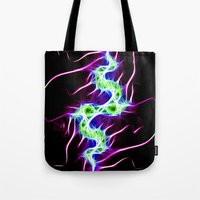lightning Tote Bags featuring Lightning by Brian Raggatt