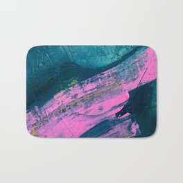Wild [1]: a bold, vibrant abstract minimal piece in teal and neon pink Bath Mat