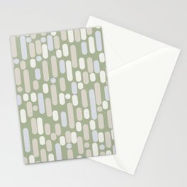 Morningside Heights Midcentury Modern Abstract Pattern in Sage Green, Almond Beige, Cream, and Light Silver Gray Stationery Cards