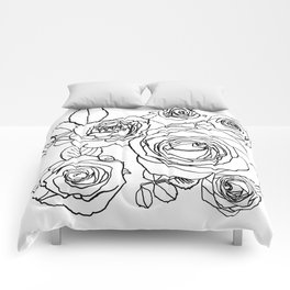 Feminine and Romantic Rose Pattern Line Work Illustration Comforters