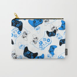 Video Game White and Blue Carry-All Pouch