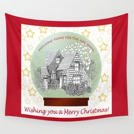 Home for the Holidays, Merry Christmas - Zentangle Illustration Wall Tapestry