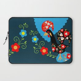 Portuguese Rooster with blue dots on black background  Laptop Sleeve