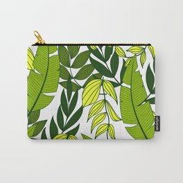 Abstract seamless tropical pattern with bright plants and leaves on a white background. Beautiful exotic plants.Tropic leaves in bright colors. Hawaiian style. Carry-All Pouch