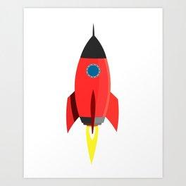 Red Rocket Blast Off Art Print