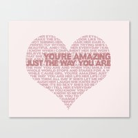 "bruno mars Canvas Prints featuring ""Just The Way You Are"" Bruno Mars Word Cloud by Jabberdashery"