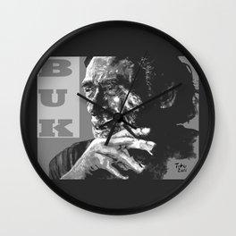 Charles Bukowski -Popart - bw Wall Clock