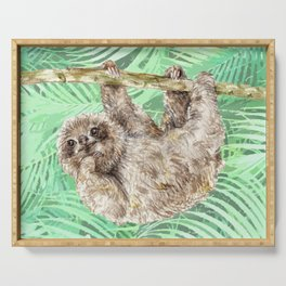 Let's hang out -- watercolor sloth Serving Tray