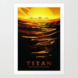 Titan NASA Space Travel Poster Futuristic Adventure Art Print